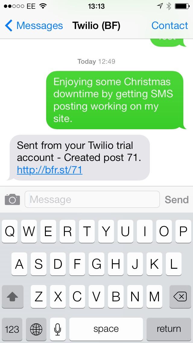 SMS via Twilio